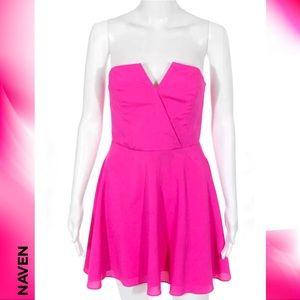 NAVEN Chic Hot Pink V-Neck Strapless Dress